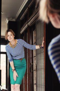 blue stripes, green skirt, gold necklace
