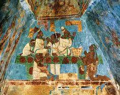 Mayan Art from Bonampak pyramid in Mexico (c. AD 580 to 800).