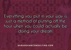 Everything you put in your way is just a method of putting off the hour when you could actually be doing your dream! #BarbaraSher