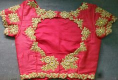 Gold Zardosi Work on Pink Raw Silk Blouse