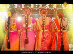 South Indian bride. Kanchipuram silk sari. Temple jewelry. Braid with fresh flowers. Tamil bride. Telugu bride. Kannada bride. Hindu bride. Malayalee bride. Bridesmaid Saree, Brides And Bridesmaids, Bridesmaid Ideas, South Indian Weddings, South Indian Bride, Wedding Sari, Wedding Bride, Wedding Gold, Indian Bridal Hairstyles