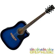 Guitarra Electroacústica Ibanez Color Azul Sombreado Transparente