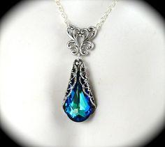 Bermuda Blue Crystal Necklace Antiqued Filigree by AzureTreasures, $42.00