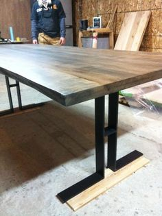 Edge Harvest Table Wood Slab Furniture I like the legs of the table. Maybe in a silver color
