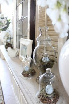 Simple Beauty Spring Mantel Decoration Ideas On A Budget 08 Seasonal Decor, Holiday Decor, The Bell Jar, Bell Jars, Apothecary Jars, Glass Domes, Glass Jars, Spring Home, Spring Crafts