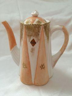 ♡ SHELLEY LATE FOLEY DAINTY ORANGE WHITE GOLD COFFEE POT 272101 1910 DAMAGED
