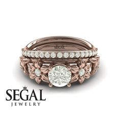Bridal Set White Diamond rings by Segal Jewelry Unique Diamond Engagement Rings, Classic Engagement Rings, Designer Engagement Rings, Rose Gold Engagement Ring, Engagement Ring Settings, Diamond Rings, Engagement Jewellery, Sapphire Rings, Black Diamond