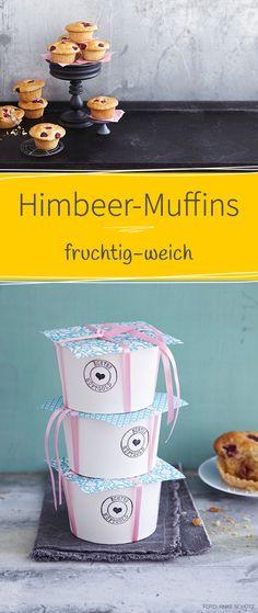 Wir verpacken unsere Himbeer-Muffins in individualisierten Geschenkboxen. Über diese Gesschenkidee aus der Küche freut sich garantiert jeder.