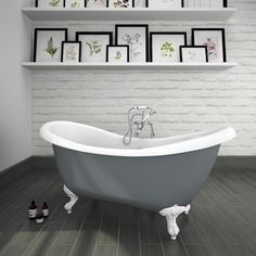 Earl Blue 1750 Double Ended Roll Top Slipper Bath W Ball Claw Leg Set Made With Skinned Acrylic A Superb White And Surface Finish