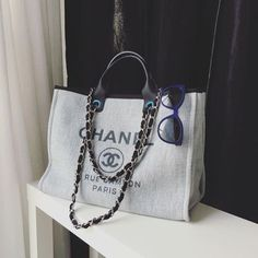 c65860346ff8 Chanel Deauville large hand/shoulder 2 way tote in grey canvas/black  leather | eBay
