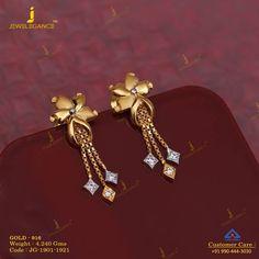 Get In Touch With us on Gold Jhumka Earrings, Indian Jewelry Earrings, Jewelry Design Earrings, Gold Earrings Designs, Gold Jewellery Design, India Jewelry, Diamond Jewellery, Necklace Designs, Diamond Earrings