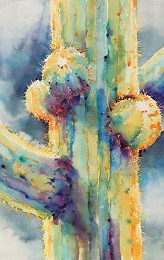 Saguaro Lightcatcher II by Yvonne Joyner Watercolor ~ 28 x 22