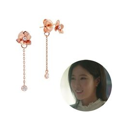 Gold C, Pink And Gold, Silver Earrings, Drop Earrings, Beaded Chandelier, Korean Celebrities, Rose Gold Plates, Kdrama, Inspired