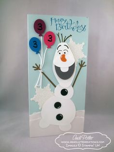 Card inspiration Stampin Up Frozen Olaf Punch Art Birthday Bday Cards, Girl Birthday Cards, Olaf Birthday, Art Birthday, Stampin Up Karten, Stampin Up Cards, Frozen Cards, Snowman Cards, Olaf Snowman
