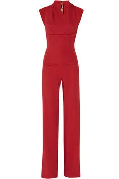 Red crepe  Pleated front and back, cutout back  Exposed zip fastening at back  63% viscose, 34% acetate, 3% elastane  Dry clean