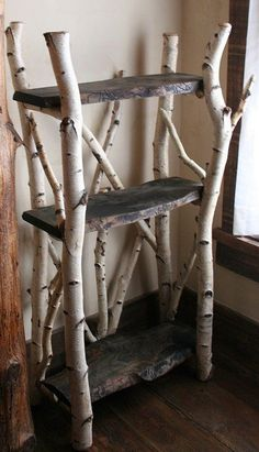 31 Unique Ideas for a Whimsical Woodland Nursery You'll feel like you're in the actual forest with this tree-made shelf tucked away in the corner. Just don't forget to bolt it to the wall to keep your sweet little one safe! Nature Decor, Easy Home Decor, Nursery Themes, Nursery Ideas, Room Ideas, Rustic Decor, Rustic Chair, Rustic Room, Rustic Art