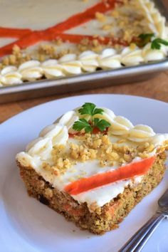 This carrot sheet cake not only feeds a crowd, but it also gets an extra delicious flavor from the addition of brown butter to both the cake and the frosting. Easter Recipes, Brunch Recipes, Dessert Recipes, Sheet Cake Recipes, Frosting Recipes, Apple Butter, Brown Butter, Protein Mug Cakes, Butter Cream Cheese Frosting