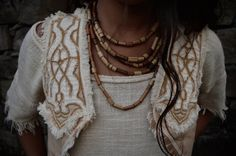 Cream Celtic Inspiration Vest Eco friendly by AnuttaraCrafts