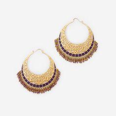 Amethyst Jaali Filigree Hoop Earring by ISHARYA Jewelry
