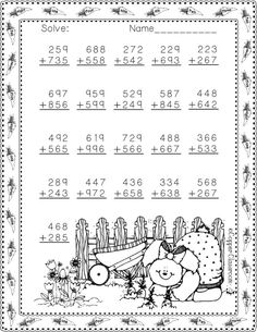 Easter Themed 3 Digit Addition With Regrouping Math Practice Worksheets, Printable Math Worksheets, School Worksheets, Worksheets For Kids, Math Resources, Math Activities, Math Drills, Math Sheets, Math Practices