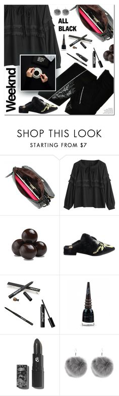 """Mission Monochrome: All-Black Outfit"" by ansev ❤ liked on Polyvore featuring ZOHARA, Bissinger's, Manic Panic NYC and allblackoutfit"