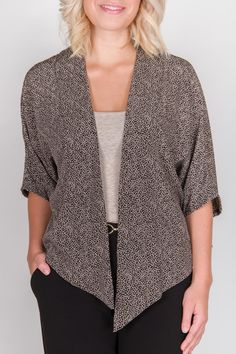 f1d7cc0f Love this!! Open-style blouse, a steal at $49! Perfect over pants or a  shift dress. Available in Black and Red.