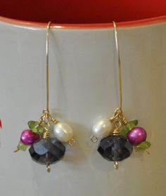 14k Gold Earrings- Wire wrapped earrings. Pearl earrings. Amethyst Peridot Glass earrings #Etsy #EtsyAAA