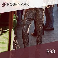 Free People Sequin Party Pants NWOT - black sequin brand new never worn tag came off. Free People Pants Skinny