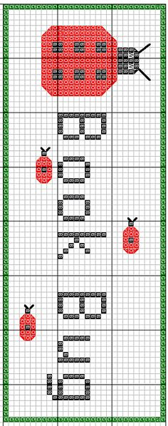 Book Bug Bookmark Cross Stitch Pattern