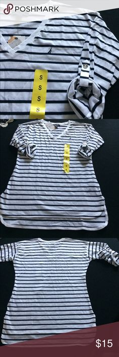 Nautica S- white and navy striped roll sleeve top New with tags Nautica ladies Small roll sleeve, V neck shirt.  Soft, lightweight material Nautica Tops