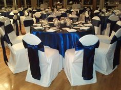 Blue Chair Covers With Showing Navy Marine Blue Satin Sashes Overlays And White Chair Covers