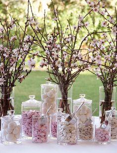Happy Pink Details Cherry Blossom Centerpiece, Cherry Blossom Party, Wedding Centerpieces, Wedding Table, Wedding Decorations, Diy Wedding, Japanese Party, Spring Wedding Inspiration, Japanese Flowers