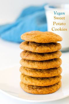 Vegan Sweet Potato Cookies Recipe adapted from the Maple Spice Pumpkin Cookies Recipe in Go Dairy Free, The Guide and Cookbook Potato Cookie Recipe, Sweet Potato Cookies, Pumpkin Spice Cookie Recipe, Sweet Potato Dessert, Sweet Potato Recipes, Cookie Recipes, Dessert Recipes, Recipe Spice, Mets