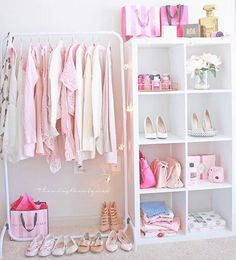 If the idea for the closet doesn't work out, get a rolling clothes rack and then she could move it around.