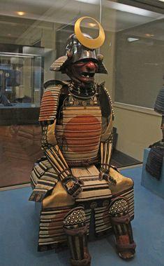 Impressive Samurai armor on display. Gusoku style, white lacing. Edo period, 17th century. -Tokyo National Museum-