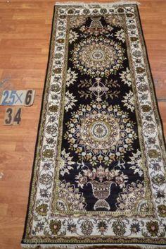 "2'6""x6' Runner Hand-knotted 200 kpsi Silk Oriental Persian Tabriz Rug 9466"