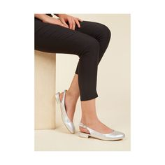 Minimal If It Ain't Got That Slingback Vegan Flat (2,710 INR) ❤ liked on Polyvore featuring shoes, flats, ballet flat, flat, silver, vegan shoes, low heel shoes, slingback shoes, flat pumps and ballet flat shoes
