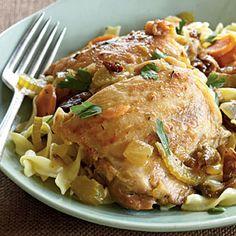 Dinner tonight: Bistro-Braised Chicken from Cooking Light November 2009.    Under 500 calories :)