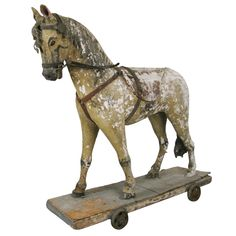 Antique French Carved & Painted Wooden Horse | From a unique collection of antique and modern sculptures at http://www.1stdibs.com/furniture/more-furniture-collectibles/sculptures/