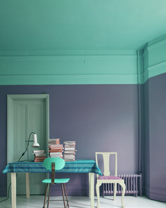 Farrow & Ball's Brassica on the walls & Stone Blue on ceiling. Chairs in Stone Blue and Cornforth White Estate Eggshell