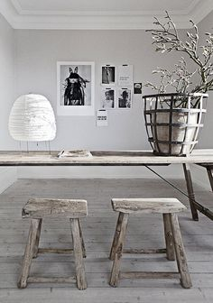 Love these rustic stools