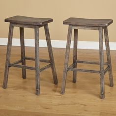 Simple Living Marney Bar-height Wood Saddle Stool (Set of 2)