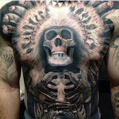 Tattoo of Skull with American Indian jewelry - http://tattootodesign.com/tattoo-of-skull-with-american-indian-jewelry/ | #Tattoo, #Tattooed, #Tattoos
