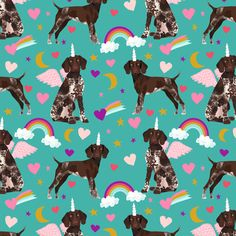 german shorthaired pointer fabric rainbows unicorns and pegasus fabric cute rainbows and hearts - turquoise fabric by petfriendly on Spoonflower - custom fabric