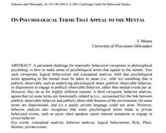 Free PDF: On Psychological Terms that Appeal to the Mental by J. Moore
