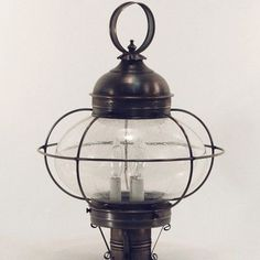 Northeast Lantern Onion Galley 3 Light Lantern Head Finish: Dark Antique Brass, Shade Type: Clear