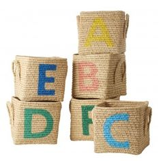Rice D K Raffia Square Basket With Painted Letters - Trouva London Kids, Modern Classroom, Square Baskets, Small B, All The Small Things, One 7, Painted Letters, Nursery Design, Kids Decor
