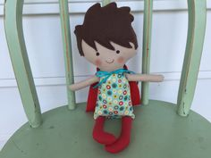 """Little boy """"Super Hero"""" doll, perfect for imaginative play! by AButtonAndAStitch on Etsy https://www.etsy.com/listing/242914455/little-boy-super-hero-doll-perfect-for"""