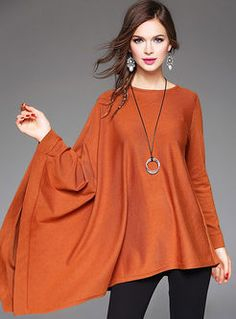 Plus Size Asymmetrical Batwing Plain Long Sleeved Top Fancy Tops, Trendy Tops, Modest Fashion, Fashion Dresses, Fashion 101, Womens Fashion, Hippie Outfits, Blouse Styles, Stylish Dresses