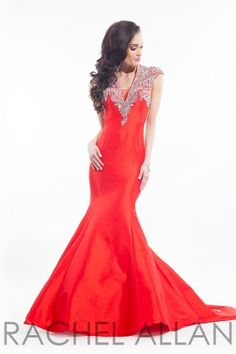 Taffeta A-line with beautiful beaded train and embellished neckline. Call 1-815-782-8877 to order!